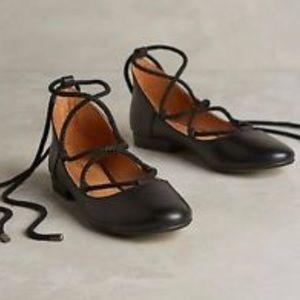 Tucson Black Leather Rope Ballet Flats